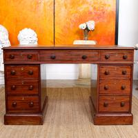Mahogany Leather Desk 19th Century Victorian Kneehole Twin Pedestal (3 of 14)