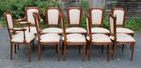 1960 Set of 10 Mahogany Dining Chairs. 8+2 Carvers. Neutral Upholstery (2 of 4)