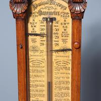 Victorian Carved Oak Admiral Fitzroy Barometer (3 of 6)