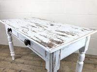 Distressed White Painted Victorian Pine Table (5 of 8)