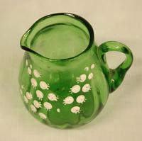 Late Victorian Green Glass Decorated Small Jug (3 of 4)