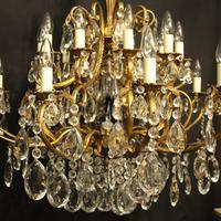 Italian Gilt & Crystal 21 Light Antique Chandelier (3 of 10)