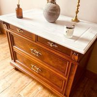 Burr Walnut Chest of Drawers / French Antique Style Commode with Marble (3 of 7)