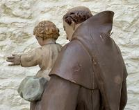 Exceptional Early 1900's Signed 39'' Carved Sculpture Statue St Anthony & Jesus (13 of 18)