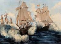 Large Fabulous Vintage 20th Century Maritime Naval Battle Ships Seascape Oil Painting (3 of 12)