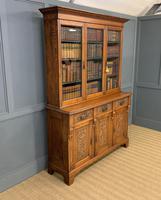 Victorian Carved Oak 3 Door Bookcase (22 of 23)