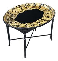 Victorian Decorated Black Lacquer Tray on Stand Coffee Table (4 of 11)