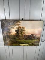 Antique Landscape Oil Painting of Ruined Gothic Abbey with Sheep Signed FCH (7 of 10)