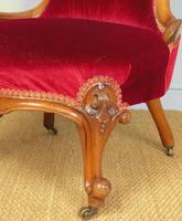 Good Mahogany Nursing Chair Red Velvet 19th Century (8 of 10)