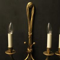 French Pair of Gilded Bronze Rope Wall Lights (2 of 10)