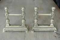 Quality Pair of Victorian Brass Fire Dogs Fire Iron Rests Andirons c.1890 (8 of 9)