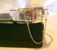 "Vintage Sterling Silver Buckle Bangle 1976 Original Box 7"" Length 24.4 Grams (6 of 12)"