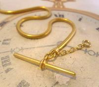 Vintage Pocket Watch Chain 1970 12ct Gold Plated Snake Link Albert With T Bar (7 of 10)