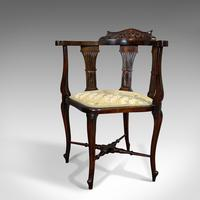 Antique Corner Armchair, French, Beech, Seat, Art Nouveau, Victorian c 1890 (5 of 12)