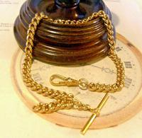 Vintage Pocket Watch Chain 1970s Large 12ct Gold Plated Curb Link Albert With T Bar