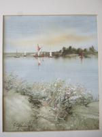 George Spence Oil Painting on Linen Paper of Norfolk Broads (2 of 4)