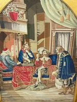 """Large Artwork Gilt Gesso Framed 19th Century Tapestry French Royal Court """"Playing Chess"""" (35 of 44)"""