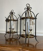 Pair of Vintage French Convex Lanterns Hall Lights Porch Pendants (6 of 6)