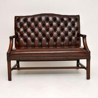 Leather & Mahogany Chippendale Style Sofa (5 of 12)