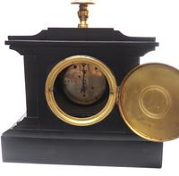 Amazing French Slate Mantel Clock Timepiece Mantle Clock with Machilite Inlay (11 of 11)