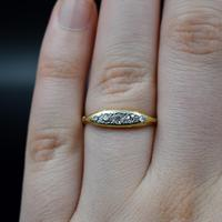 Antique Old Cut Diamond Five Stone 18ct Gold Scroll Ring (7 of 10)