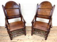 Pair of Antique Oak Throne Chairs (4 of 13)
