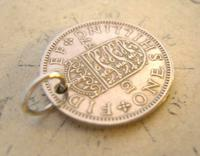 Vintage Pocket Watch Chain Fob 1957 Lucky Silver One Shilling Old 5d Coin Fob (5 of 8)