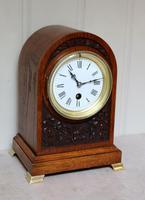 Edwardian Oak Arch Top Mantel Clock (3 of 12)