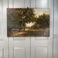 Antique Landscape Oil Painting of Deer in Richmond Park Signed JI Lewis (5 of 10)