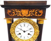 Antique Satinwood Inlaid Mantel Clock Rosewood French Striking Portico Mantle Clock (5 of 11)