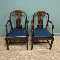 Elegant Pair of Edwardian Walnut Hepplewhite Design Antique Carver Chairs (5 of 7)