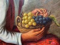 The Fruit Seller - Attractive Original Early 1900s Italian Oil Portrait Painting (9 of 10)