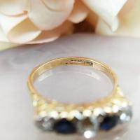Antique 18ct Yellow Gold Diamond & Sapphire Five Stone Ring, Victorian (10 of 10)