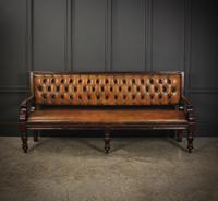 Rare Victorian Buttoned Leather Snooker Bench (6 of 17)