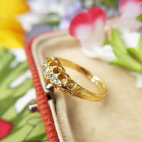 Edwardian 18ct Yellow Gold Five Old Cut Diamond Ring, Antique 1905-1906 (4 of 8)