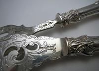 Ornate Antique Victorian Solid Sterling Silver Fish Servers, Serving Knife+Fork, English Hallmarked (4 of 11)