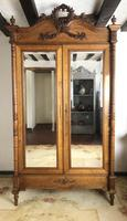 Antique French Carved Armoire Housekeepers 2 Door Mirrored Wardrobe (2 of 8)