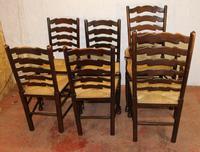 1940s Set 6 Oak Ladderback Dining Chairs Rush Seats. 4+2 (3 of 3)