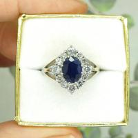 Vintage 18ct white gold sapphire diamond cluster ring ~ 1.55ct sapphire (2 of 10)