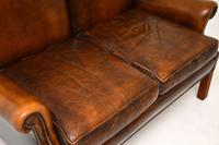 Georgian Style Leather Wing Back Sofa c.1960 (6 of 12)