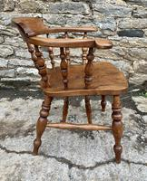 Antique Elm Captains Chair Smokers Bow (9 of 13)