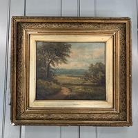 Antique Victorian landscape oil painting entitled View nr Epping signed B Fox (3 of 11)