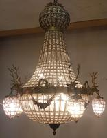 20th Century French Stags Head Ornate Chandelier (3 of 13)