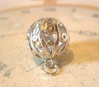 Victorian Revival Pocket Watch Chain Fob 1970s Vintage Puffy Chrome Ball Fob (2 of 6)