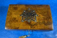 Victorian Brass Bound Burr Walnut  Card Box (4 of 11)