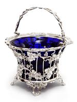 Large Victorian Silver Plated Sugar Basket with a Bristol Blue Liner (4 of 5)
