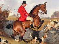"""Victorian Sporting Oil Painting """"Taking A Fence"""" Horse  & Rider With Scent Foxhounds Hunting By John Alfred Wheeler (12 of 59)"""