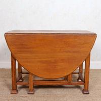 Oak Gateleg Dining Table Carved Solid Folding Kitchen Table (7 of 15)