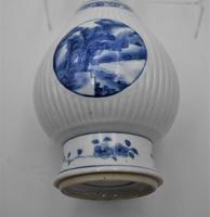 Chinese Blue & White Porcelain Ribbed Vase-19th Century (5 of 9)