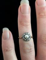 Antique pearl and diamond cluster ring, 18ct gold (7 of 9)